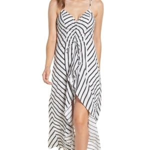 LUSH Stripe Gathered High/Low Dress